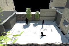 vogelvlucht aanbouw en tuinhuis